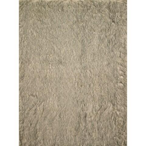 "Silver Orchid Martin Faux Fur Beige/ Black Shag Area Rug - 5' x 7'6"""