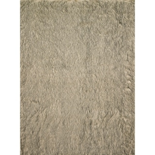 Faux Fur Beige/ Black Shag Rug (5'0 x 7'6)