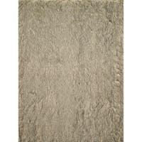 Faux Fur Beige/ Black Shag Rug - 5' x 7'6