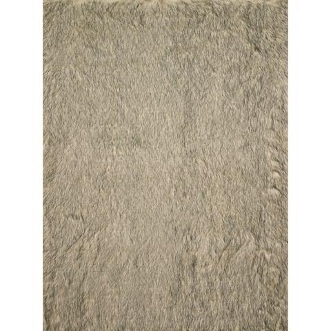"Silver Orchid Martin Faux Fur Sheepskin Plush Shag Rug - 5' x 7'6"""