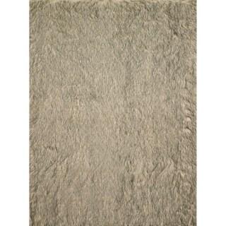 Faux Fur Beige/ Black Shag Rug (2'0 x 3'0)