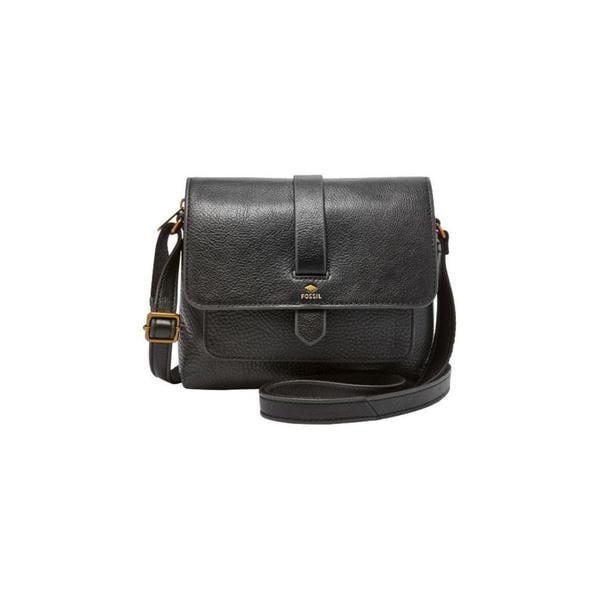 b7314efbcc1 Shop Fossil Kinley Black Leather Small Crossbody Handbag - Free ...