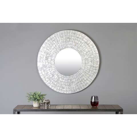 East At Main S Guymon Silver Natural Shell Capiz Round Accent Mirror