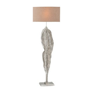 Dimond Lighting Katerini Beige Linen Shade and Nickel-finish Aluminum Base Floor Lamp