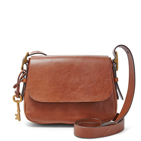 f026b342aff4 Shop Fossil Harper Brown Leather Small Crossbody Handbag - Free ...