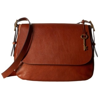 Shop Mossi Fossil Harper Brown Leather Large Saddle