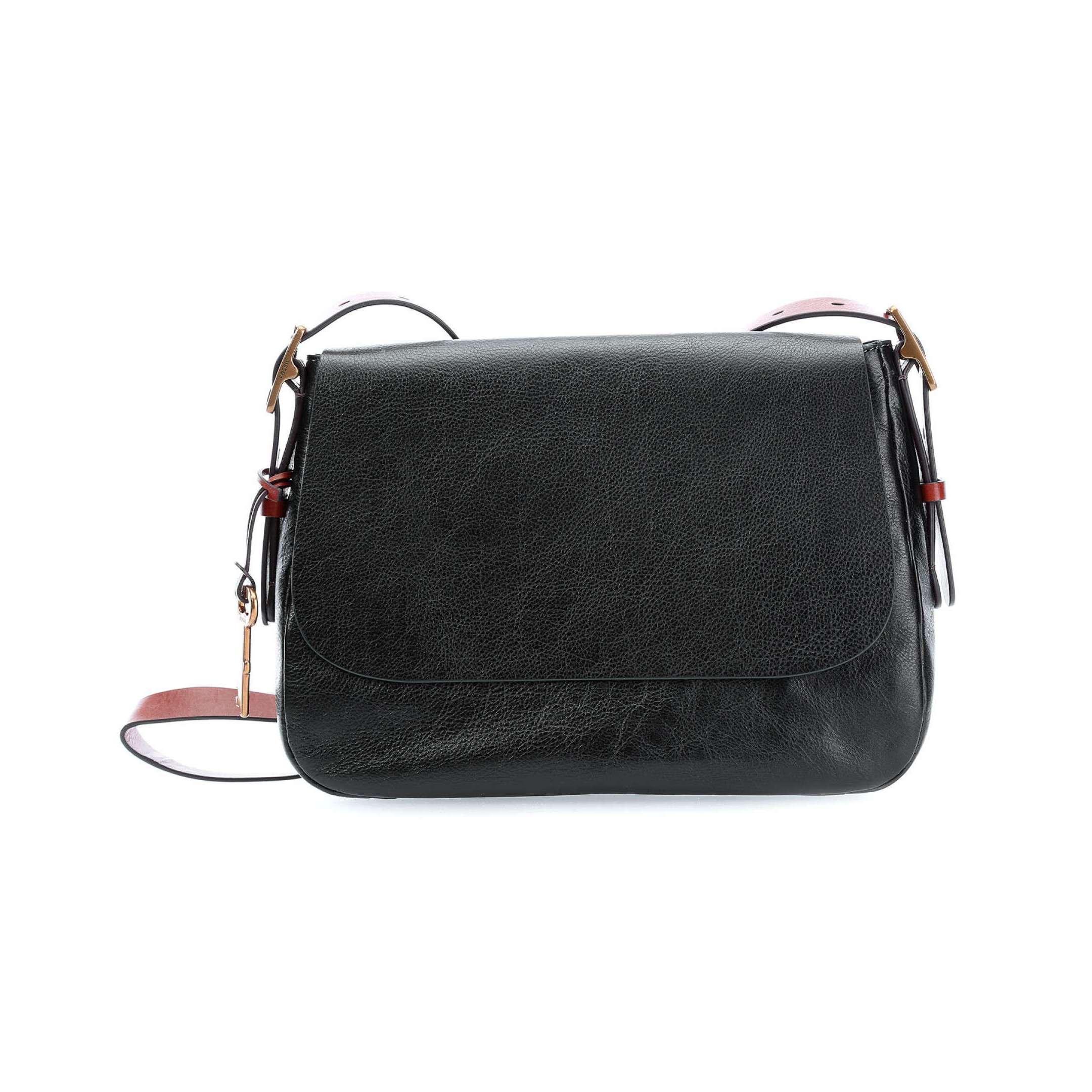 Mossi Fossil Harper Black Leather Large Crossbody Handbag...