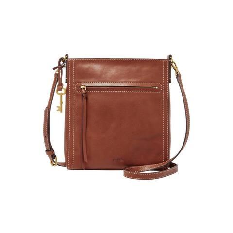 Fossil Emma North South Brown Leather Crossbody Handbag