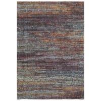 Style Haven Textural Stripes Multicolored Nylon/Polypropylene Area Rug - 6'7 x 9'6