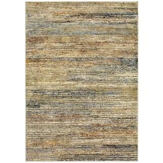 Style Haven Textural Stripes Gold/Green Nylon/Polypropylene Area Rug (5'3 x 7'3)