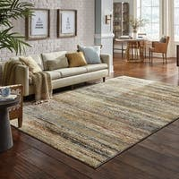 "Style Haven Textural Stripes Gold and Green Area Rug (6'7x9'6) - 6'7"" x 9'6"""