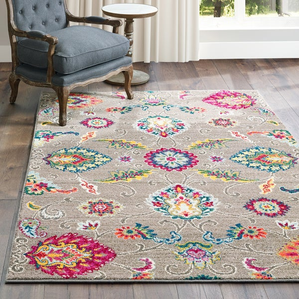 Shop Gracewood Hollow Revard Flowers Grey Multicolored Area Rug 5