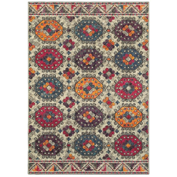 "The Curated Nomad Portia Boho Border Medallion Area Rug - 6'7"" x 9'1"""