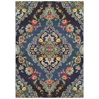"Style Haven Imperial Luxe Navy/ Blue Area Rug (6'7 x 9'6) - 6'7"" x 9'6"""