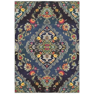 Style Haven Imperial Luxe Navy/ Blue Area Rug (6'7 x 9'6)