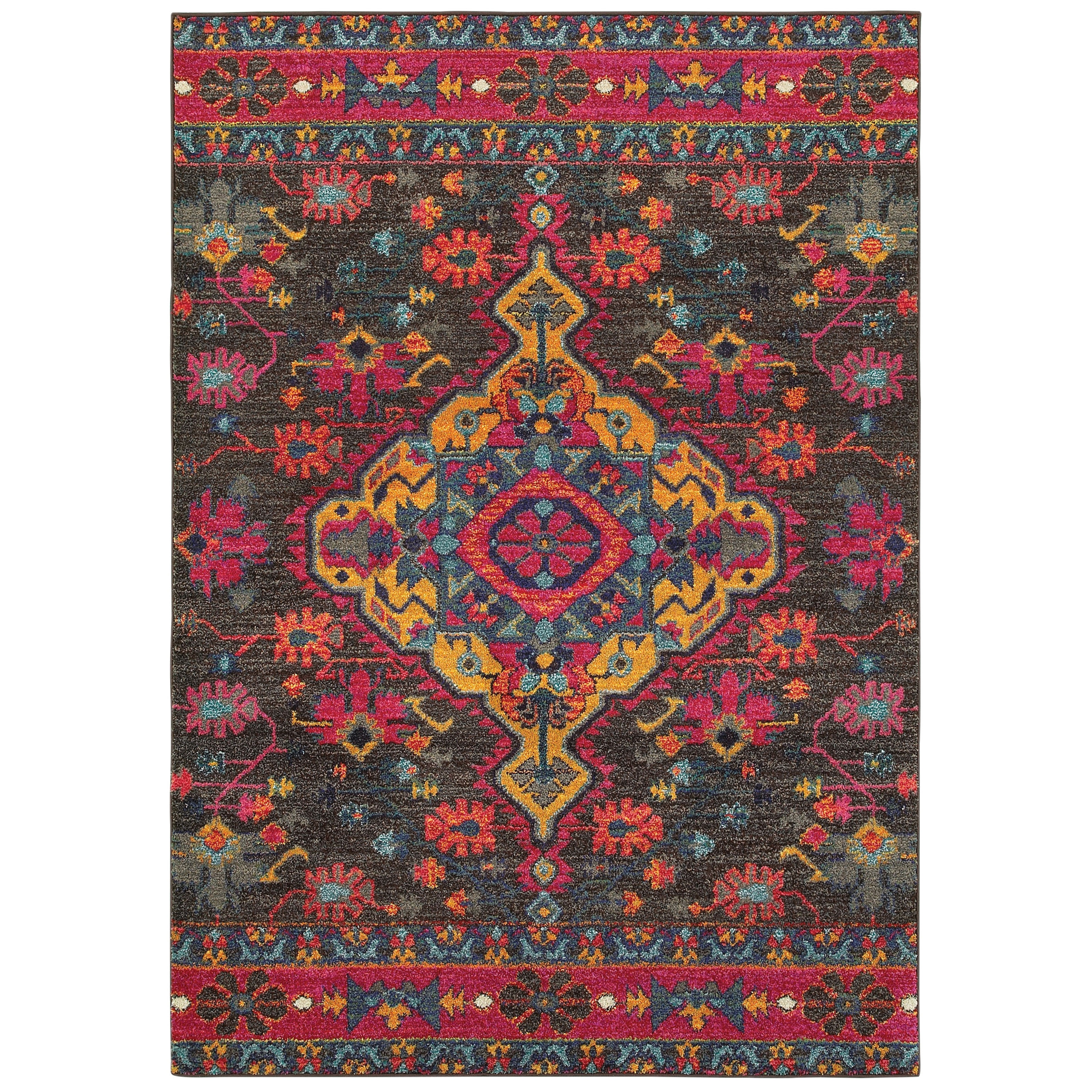 The Curated Nomad Michael Tribal Charcoal/Pink Area Rug - 67 x 91 (67 x 91 - Charcoal/Pink)