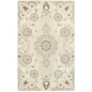 Style Haven Floral Medallions Sand/Ash Handcrafted Undyed Wool Area Rug (5' x 8')