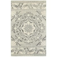 Style Haven Floret Medallion Ash/Ivory Handcrafted Undyed Wool Area Rug - 5' x 8'