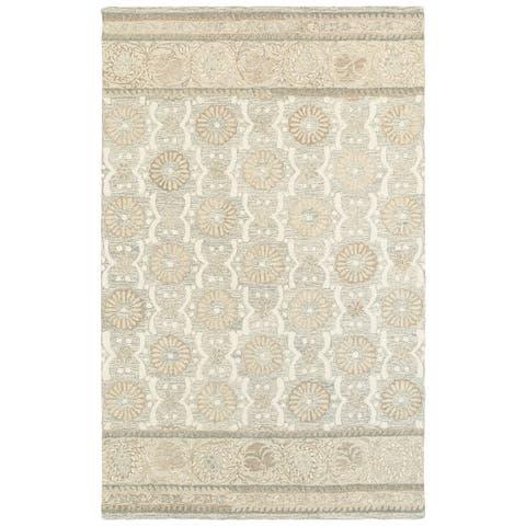 Copper Grove Lalemant Blooming Ash/ Sand Handcrafted Wool Runner Rug