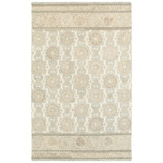 Copper Grove Lalemant Blossom Ash/ Sand Wool Handcrafted Undyed Area Rug - 5' x 8'