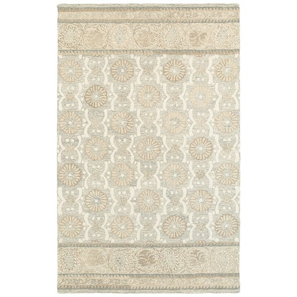Copper Grove Lalemant Blooming Ash/ Sand Handcrafted Wool Runner Rug. Opens flyout.