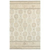 The Gray Barn Hoggett Blossom Ash/ Sand Wool Handcrafted Undyed Area Rug - 5' x 8'