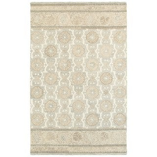 Style Haven Flourishing Blooms Ash/Sand Wool Handcrafted Undyed Area Rug (5' x 8')