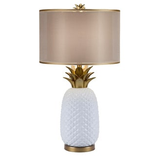 Oliver & James Demont White and Gold Ceramic Pineapple Table Lamp - Thumbnail 0