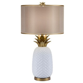 Catalina Oahu White and Gold Ceramic Pineapple Table Lamp