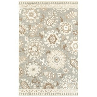 Style Haven Blooming Gardens Grey/ Sand Handcrafted Undyed Wool Area Rug (5' x 8')