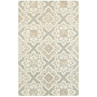 Grey/Sand Wool Floral Lattice Handcrafted Undyed Area Rug (5' x 8')