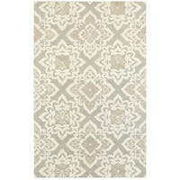 Grey/Sand Wool Floral Lattice Handcrafted Undyed Area Rug - 5' x 8'