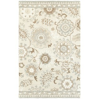 Style Haven Blooming Gardens Ivory and Grey Wool Handcrafted Undyed Area Rug (5' X 8')