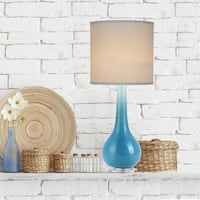 Catalina Camela Painted Blue Glass Teardrop Table Lamp