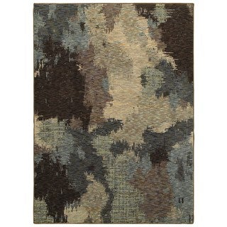 Abstract Veil Blue/Brown Area Rug (6'7 x 9'6)