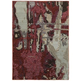 Bordeaux Canvas Red/Beige Area Rug (5'3 x 7'3)