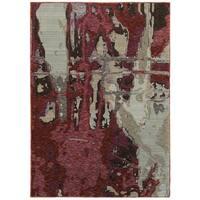"Bordeaux Canvas Red/Beige Area Rug (5'3 x 7'3) - 5'3"" x 7'3"""