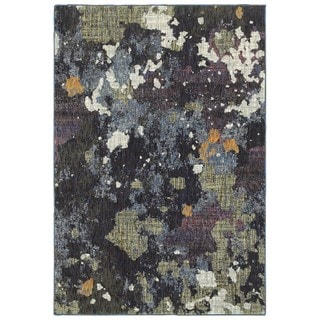 Style Haven Dappled Night Navy/Green Area Rug (6'7 x 9'6)
