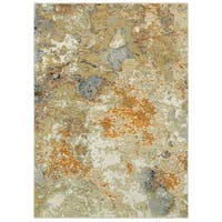 Carson Carrington Imatra Marble Gold/Beige Area Rug - 6'7 x 9'6