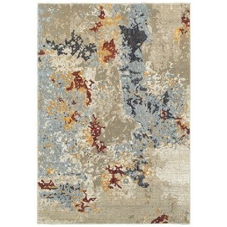 Style Haven Tierra Abstract Beige/Blue Area Rug (6'7 x 9'6)