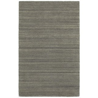 Charcoal Wool Solid Distressed Handcrafted Area Rug (5' x 8')