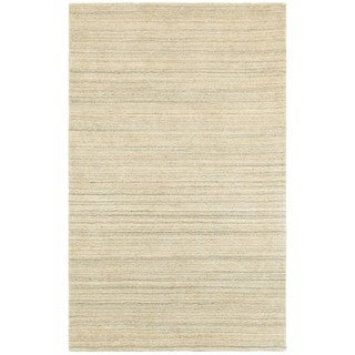 Style Haven Solid Distressed Beige/Beige Handcrafted Wool Area Rug (5' x 8')