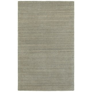 Solid Distressed Grey Handcrafted Wool Area Rug (5' x 8')
