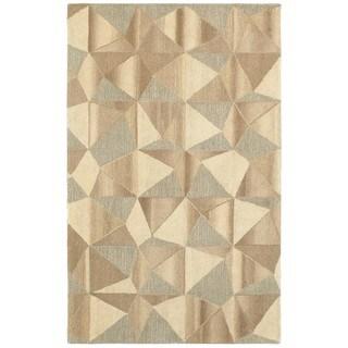 Style Haven Geo Geometric Beige/Grey Wool Handcrafted Area Rug (5' x 8')