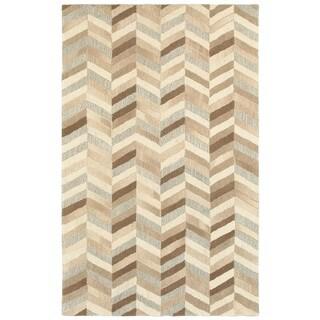 Textured Chevrons Beige/Grey Wool Handcrafted Area Rug (5' x 8')