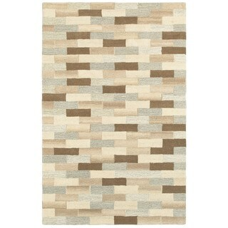 Style Haven Textured Blocks Beige/Grey Wool Handcrafted Area Rug (5' X 8')