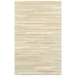 Textured Stripes Beige/Grey Wool Handcrafted Area Rug (5' x 8')