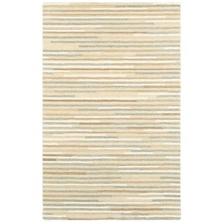 Textured Stripes Beige/Grey Wool Handcrafted Area Rug - 5' x 8'