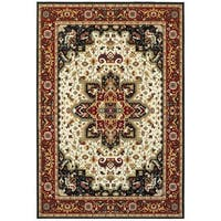 Laurel Creek Archie Timeless Medallion Red/Ivory Area Rug - 6'7 x 9'6