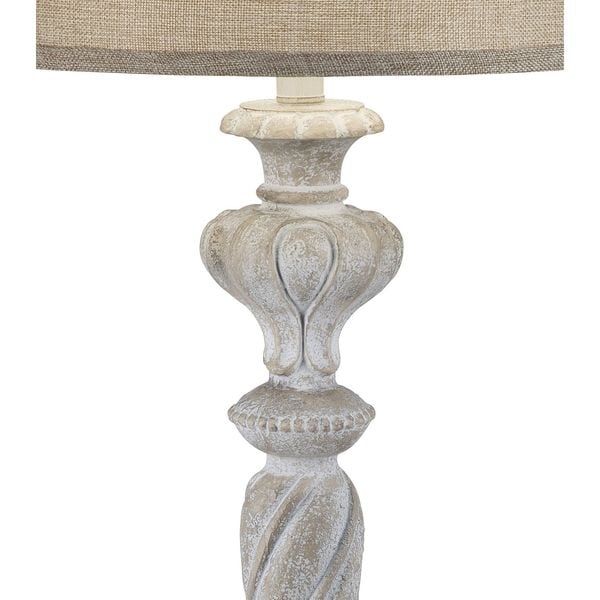 Catalina Tori White Wood-inspired Scroll Table Lamp